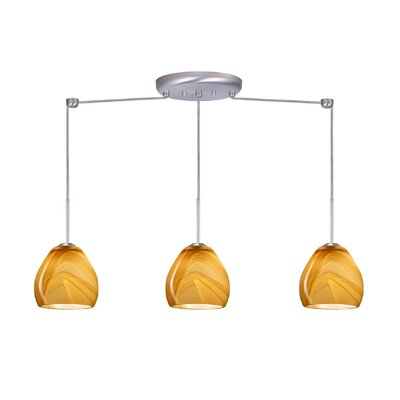 Bolla 3 Light Linear Mini Pendant Finish: Satin Nickel, Glass Shade: Honey, Bulb Type: Incandescent or Xenon