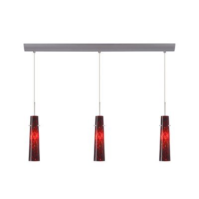 Camino 3 Light Pendant with Bar Canopy Finish: Satin Nickel, Glass Shade: Garnet, Bulb Type: Halogen