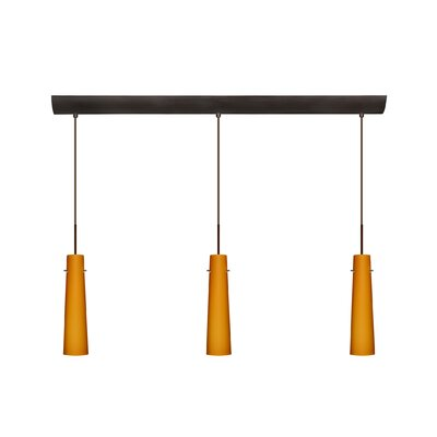 Camino 3 Light Pendant with Bar Canopy Finish: Bronze, Glass Shade: Amber Matte, Bulb Type: Halogen