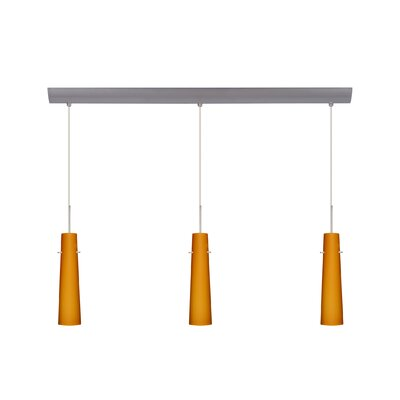 Camino 3 Light Pendant with Bar Canopy Finish: Satin Nickel, Glass Shade: Amber Matte, Bulb Type: Halogen