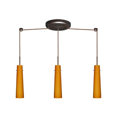 Camino 3 Light Linear Pendant Finish: Bronze, Glass Shade: Amber Matte, Bulb Type: Halogen
