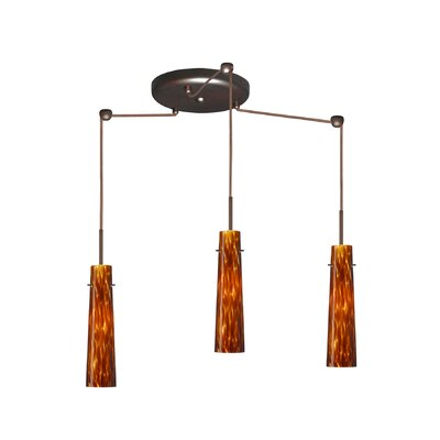 Camino 3 Light Pendant Finish: Bronze, Glass Shade: Amber Cloud, Bulb Type: Halogen