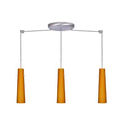 Camino 3 Light Linear Pendant Finish: Satin Nickel, Glass Shade: Amber Matte, Bulb Type: Incandescent or Xenon