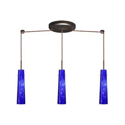 Camino 3 Light Linear Pendant Finish: Bronze, Glass Shade: Blue Cloud, Bulb Type: Halogen