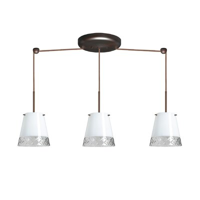 Amelia 3 Light Linear Pendant Finish: Bronze, Glass Shade: Black Hand-cut, Bulb Type: Incandescent or Xenon