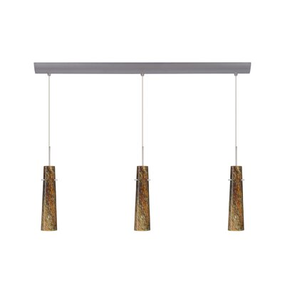 Camino 3 Light Pendant with Bar Canopy Finish: Satin Nickel, Glass Shade: Ceylon, Bulb Type: Halogen