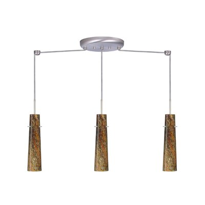 Camino 3 Light Linear Pendant Finish: Satin Nickel, Glass Shade: Ceylon, Bulb Type: Incandescent or Xenon