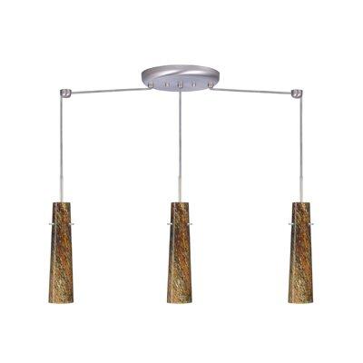 Camino 3 Light Linear Pendant Finish: Satin Nickel, Glass Shade: Ceylon, Bulb Type: Halogen