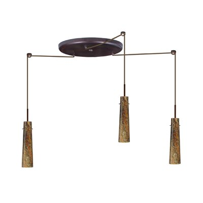 Camino 3 Light Pendant Finish: Bronze, Glass Shade: Ceylon, Bulb Type: Halogen