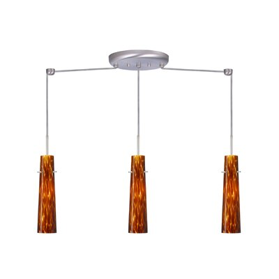 Camino 3 Light Linear Pendant Finish: Satin Nickel, Glass Shade: Amber Cloud, Bulb Type: Incandescent or Xenon