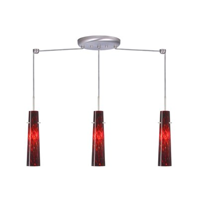 Camino 3 Light Linear Pendant Finish: Satin Nickel, Glass Shade: Garnet, Bulb Type: Incandescent or Xenon