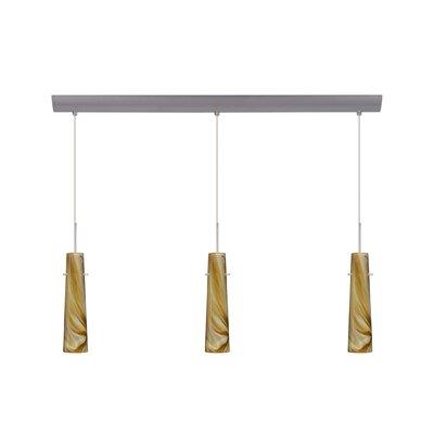 Camino 3 Light Pendant with Bar Canopy Finish: Satin Nickel, Glass Shade: Honey, Bulb Type: Incandescent or Xenon