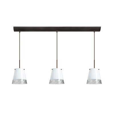 Amelia 3 Light Pendant with Bar Canopy Finish: Bronze, Glass Shade: White Hand-cut, Bulb Type: Incandescent or Xenon