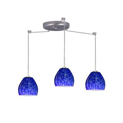 Bolla 3 Light Mini Pendant Finish: Satin Nickel, Glass Shade: Blue Cloud, Bulb Type: Halogen