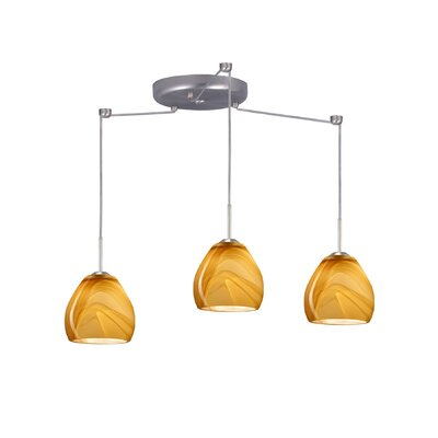 Bolla 3 Light Mini Pendant Finish: Satin Nickel, Glass Shade: Honey, Bulb Type: Halogen