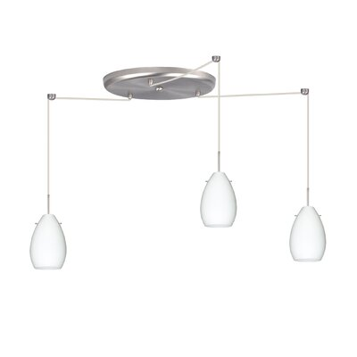 Pera 3 Light Mini Pendant Bulb Type: Halogen, Finish: Satin Nickel, Glass Shade: Opal Matte
