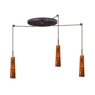 Camino 3 Light Pendant Finish: Bronze, Glass Shade: Ruby Matte, Bulb Type: Halogen