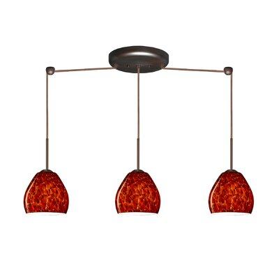 Bolla 3 Light Linear Mini Pendant Finish: Bronze, Glass Shade: Garnet, Bulb Type: Incandescent or Xenon