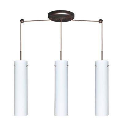Stilo 3 Light Linear Pendant Finish: Bronze, Glass Shade: Opal Matte, Bulb Type: Incandescent