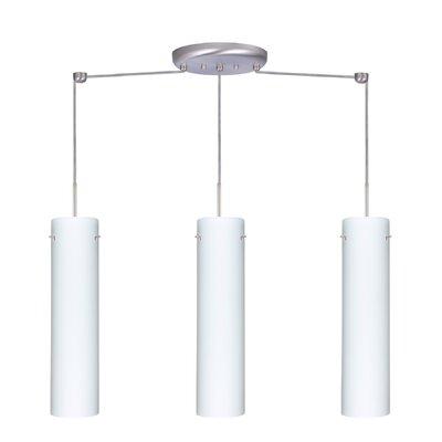 Stilo 3 Light Linear Pendant Finish: Satin Nickel, Glass Shade: Opal Matte, Bulb Type: LED