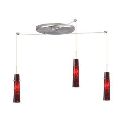 Camino 3 Light Pendant Finish: Satin Nickel, Glass Shade: Garnet, Bulb Type: Halogen