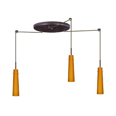 Camino 3 Light Pendant Finish: Bronze, Glass Shade: Amber Matte, Bulb Type: Incandescent or Xenon