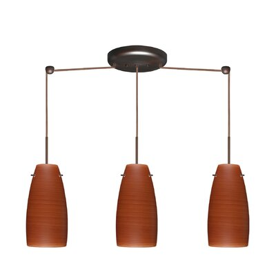 Tao 3 Light Pendant Finish: Bronze, Glass Shade: Cherry, Bulb Type: LED