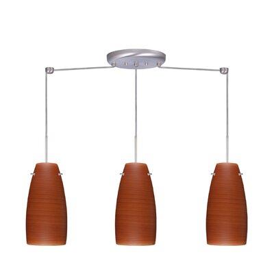 Tao 3 Light Pendant Finish: Satin Nickel, Glass Shade: Cherry, Bulb Type: Incandescent