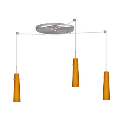 Camino 3 Light Pendant Finish: Satin Nickel, Glass Shade: Amber Matte, Bulb Type: Incandescent or Xenon