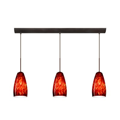 Chrissy 3 Light Pendant with Bar Canopy Finish: Bronze, Glass Shade: Garnet, Bulb Type: Incandescent or Xenon