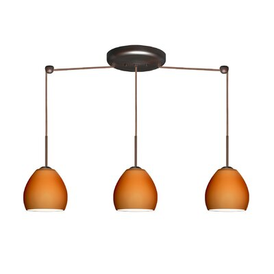 Bolla 3 Light Linear Mini Pendant Finish: Bronze, Glass Shade: Amber Matte, Bulb Type: Halogen