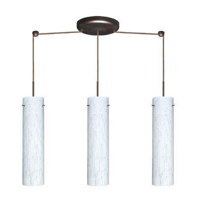 Stilo 3 Light Linear Pendant Finish: Bronze, Glass Shade: Carrera, Bulb Type: LED