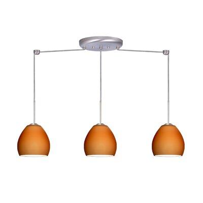 Bolla 3 Light Linear Mini Pendant Finish: Satin Nickel, Glass Shade: Amber Matte, Bulb Type: Halogen