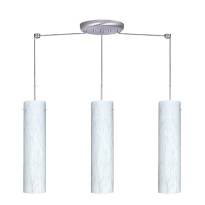 Stilo 3 Light Linear Pendant Finish: Satin Nickel, Glass Shade: Carrera, Bulb Type: LED