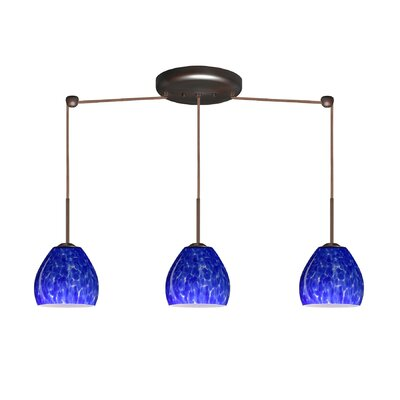 Bolla 3 Light Linear Mini Pendant Finish: Bronze, Glass Shade: Blue Cloud, Bulb Type: Halogen