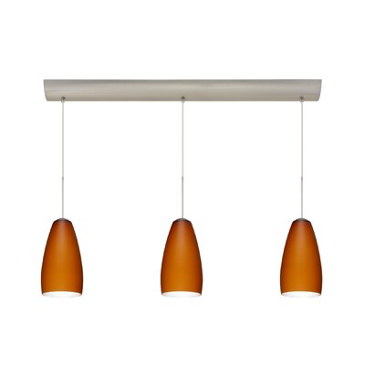 Chrissy 3 Light Pendant with Bar Canopy Finish: Satin Nickel, Glass Shade: Amber Matte, Bulb Type: Incandescent or Xenon