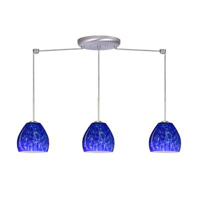 Bolla 3 Light Linear Mini Pendant Finish: Satin Nickel, Glass Shade: Blue Cloud, Bulb Type: Incandescent or Xenon