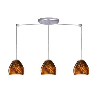 Bolla 3 Light Linear Mini Pendant Finish: Satin Nickel, Glass Shade: Ceylon, Bulb Type: Incandescent or Xenon