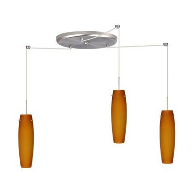 Tutu Pendant Bulb Type: Halogen, Finish: Satin Nickel, Glass Shade: Habanero