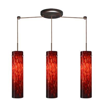 Stilo 3 Light Linear Pendant Finish: Bronze, Glass Shade: Garnet, Bulb Type: LED