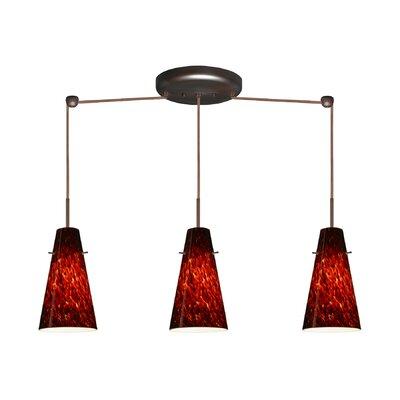 Cierro 3 Light Linear Pendant Finish: Bronze, Glass Shade: Garnet, Bulb Type: LED
