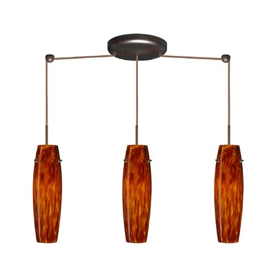 Suzi 3 Light Linear Pendant Finish: Bronze, Glass Shade: Amber Cloud, Bulb Type: Incandescent