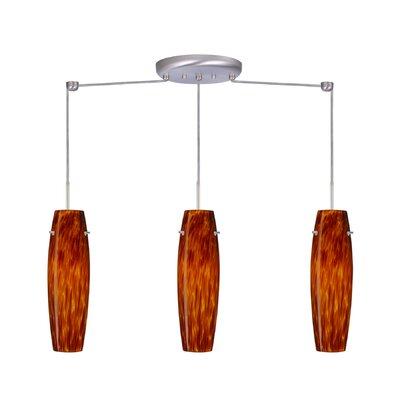Suzi 3 Light Linear Pendant Finish: Satin Nickel, Glass Shade: Amber Cloud, Bulb Type: LED