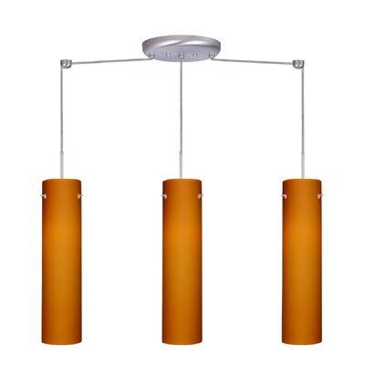 Stilo 3 Light Linear Pendant Finish: Satin Nickel, Glass Shade: Amber Matte, Bulb Type: LED
