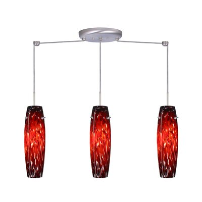Suzi 3 Light Linear Pendant Finish: Satin Nickel, Glass Shade: Garnet, Bulb Type: LED