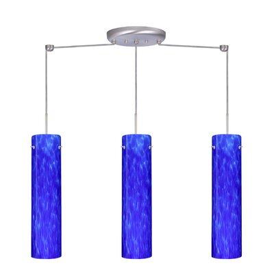 Stilo 3 Light Linear Pendant Finish: Satin Nickel, Glass Shade: Blue Cloud, Bulb Type: LED