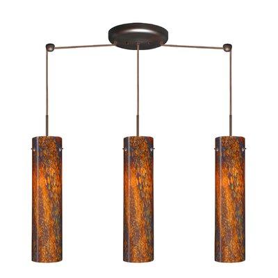 Stilo 3 Light Linear Pendant Finish: Bronze, Glass Shade: Ceylon, Bulb Type: LED