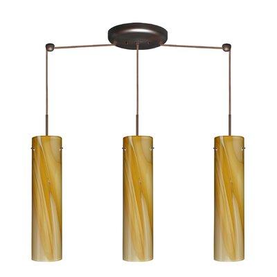 Stilo 3 Light Linear Pendant Finish: Bronze, Glass Shade: Honey, Bulb Type: LED