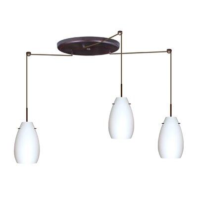 Pera 3 Light Pendant Finish: Bronze, Glass Shade: Amber Cloud, Bulb Type: LED