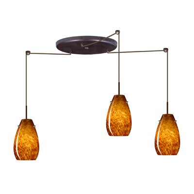 Pera 3 Light Pendant Finish: Bronze, Glass Shade: Amber Cloud, Bulb Type: Incandescent